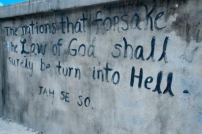 Scriptures on the wall - Caye Caulker, Belize