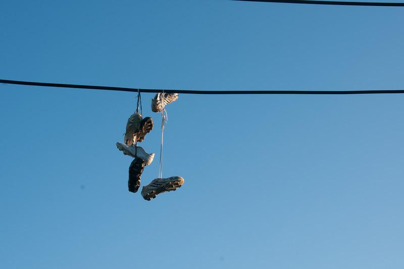 Hanging shoes in Caye Caulker, Belize