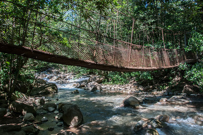 Hanging bridge in Rincon Volcano National Park, Costa Rica