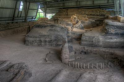 Remains of the Mayan village of Joya de Ceren buried by volcano eruption - El Salvador