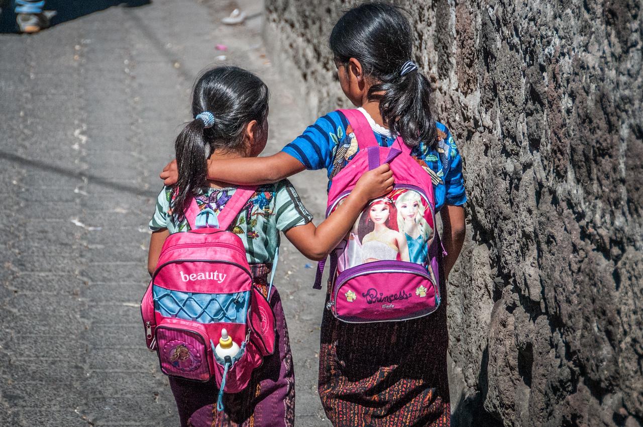 School kids walking in Atitlan, Guatemala