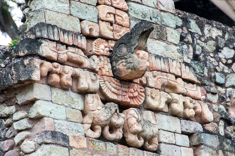 Mayan stone carving at the Ruins of Copan, Honduras