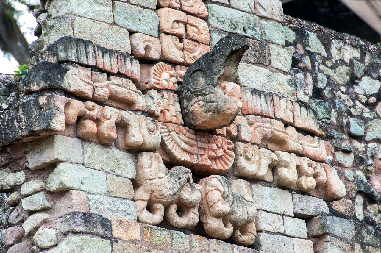 Mayan stone carving at the Ruins of Copan, Honduras