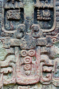 Mayan Stone Carving in the Ruins of Copan, Honduras
