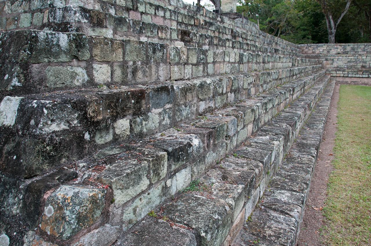 Stairs to Mayan temple ruins in Copan, Honduras