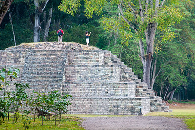 Tourists in the Mayan ruins of Copan, Honduras