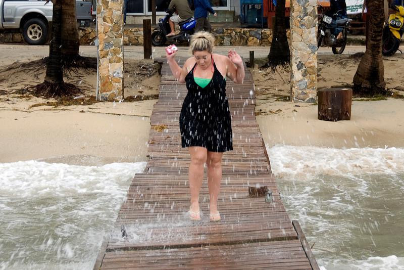 Waves hitting the dock in Roatan, Honduras