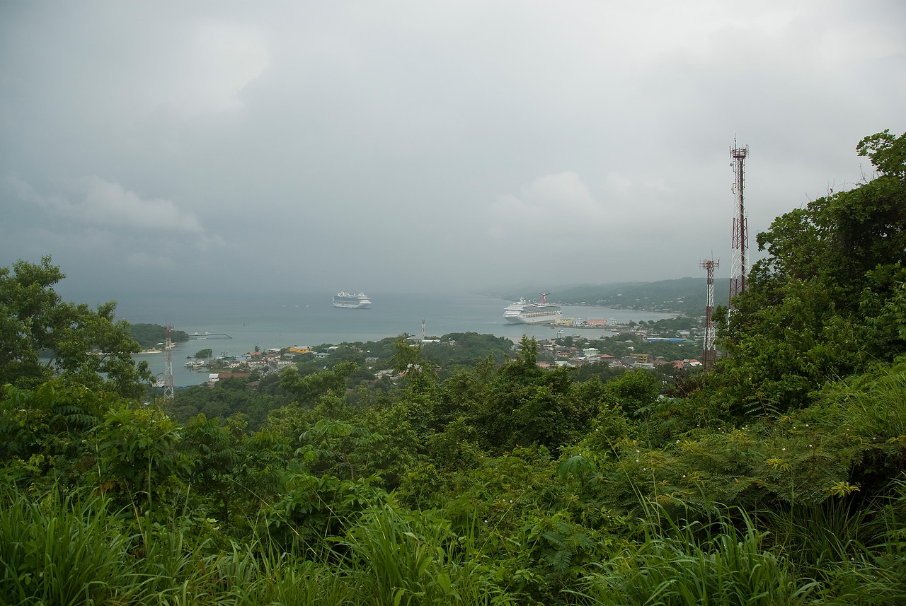 Overlooking of the bay island in Roatan, Honduras