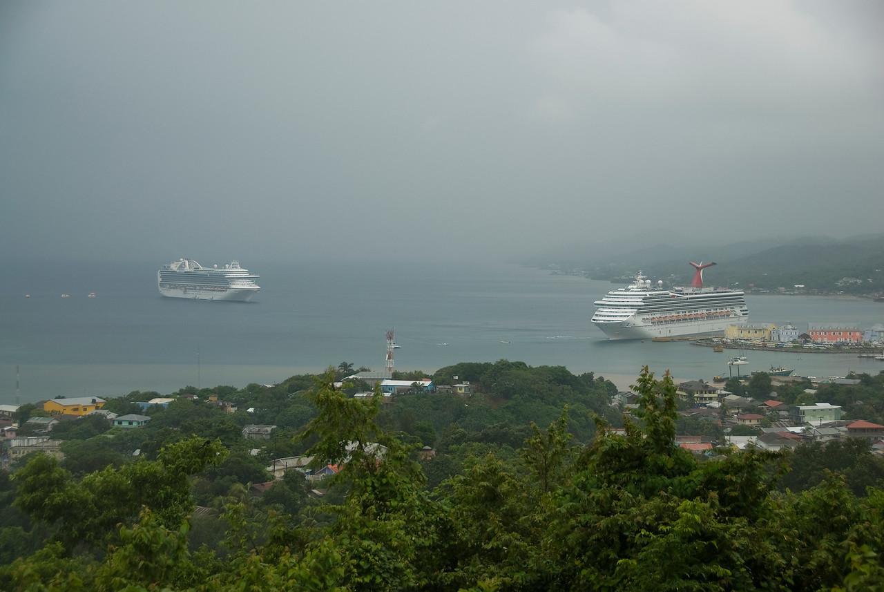Overlooking view of the bay island in Roatan, Honduras