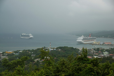 Overlooking view of the bay island in Roatan, Honduras