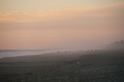 Mist during sunset on beach in Acapulco, Mexico