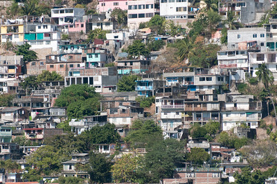 Buildings on a cliff in Acapulco, Mexico