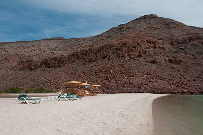 Chairs on a beach in La Paz, Mexico