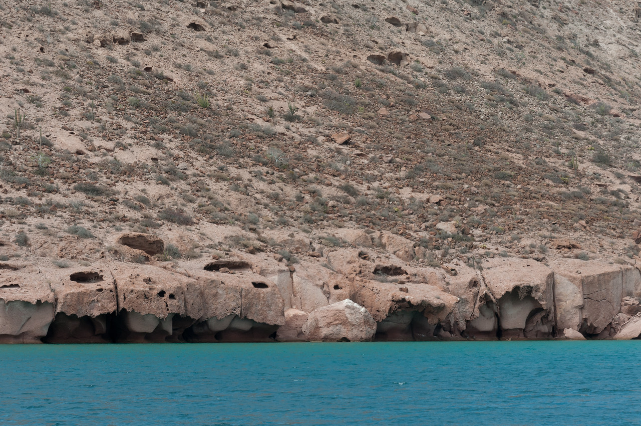 Island off a coast in La Paz, Mexico