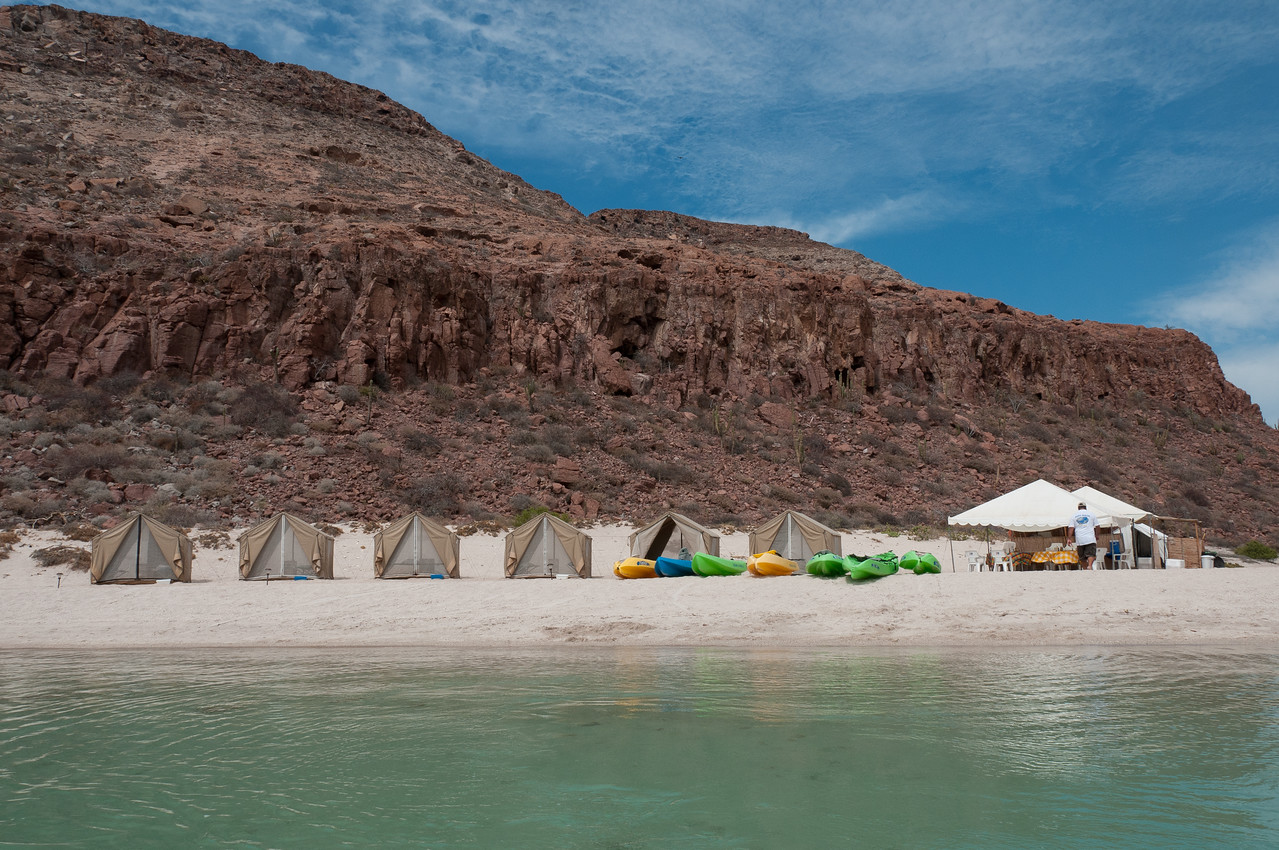 Camping spot in a beach in La Paz, Mexico