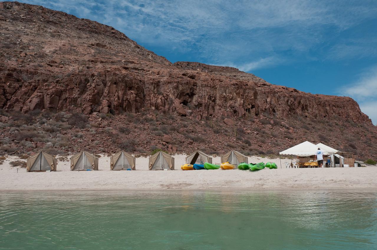 Camping spot in a beach in La Paz, Mexico