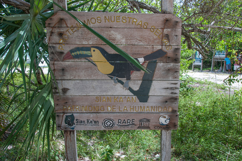 Sign at bird sanctuary in Mayan Riviera, Mexico