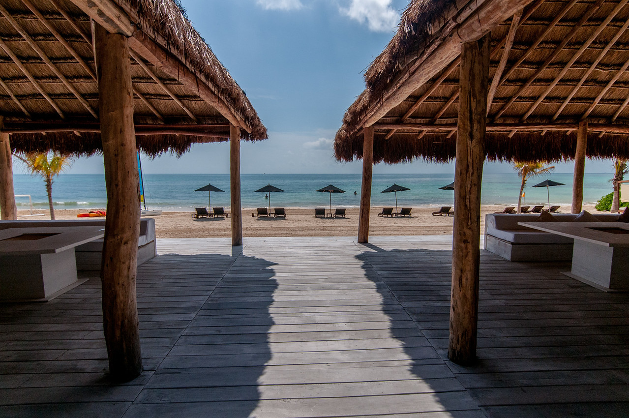 View of the beach in Mayan Riviera, Mexico