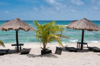Huts on the beach in Mayan Riviera, Mexico
