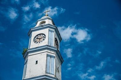 Clock tower of San Cristobal Church, Tlacotalpan, Mexico