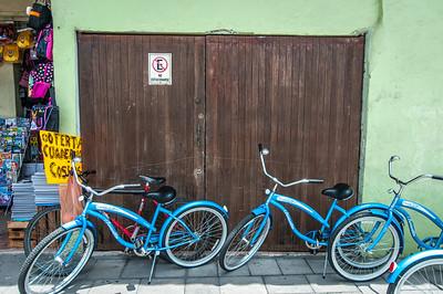 Bikes parked in Ttacotalpan, Veracruz, Mexico