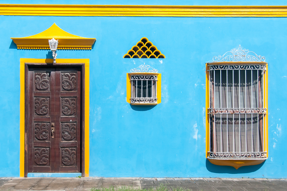 Colorful House Facade in Tlacotalpan, Mexico