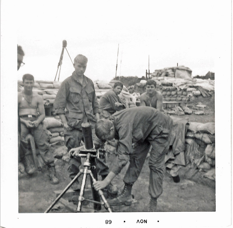 JM103: 4th Platoon grunts around the 81mm mortar at LZ Chippewa; L to R: ?, Gregory R. Felty, Poncho, Johnny C Willard, Larry Lennon, ? Richard A. Tumbleson
