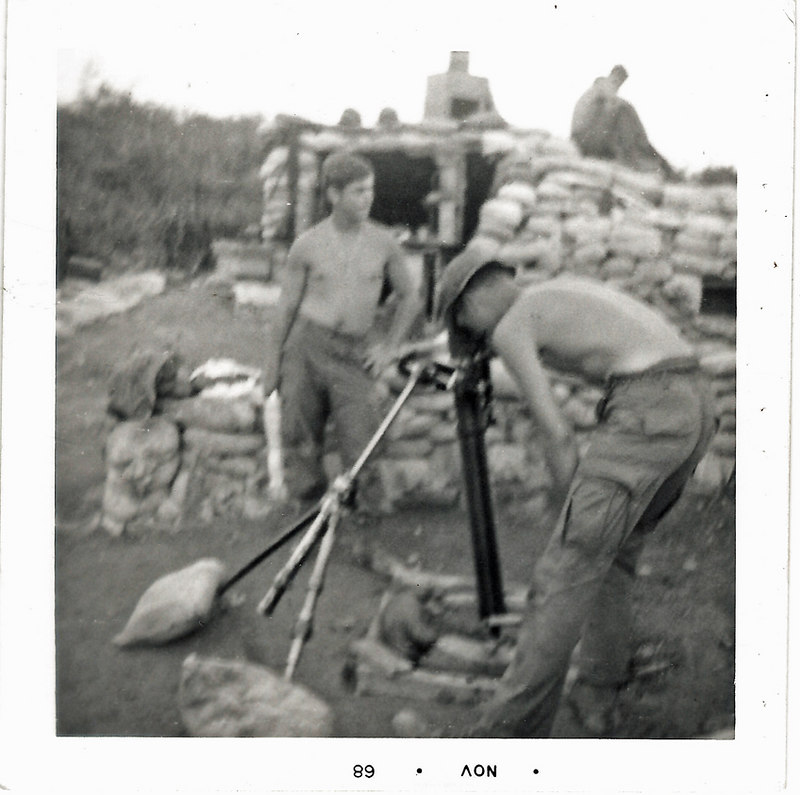 JM102: 4th Platoon grunts around the 81mm mortar #1. Greg Felty and perhaps Johnny Willard.