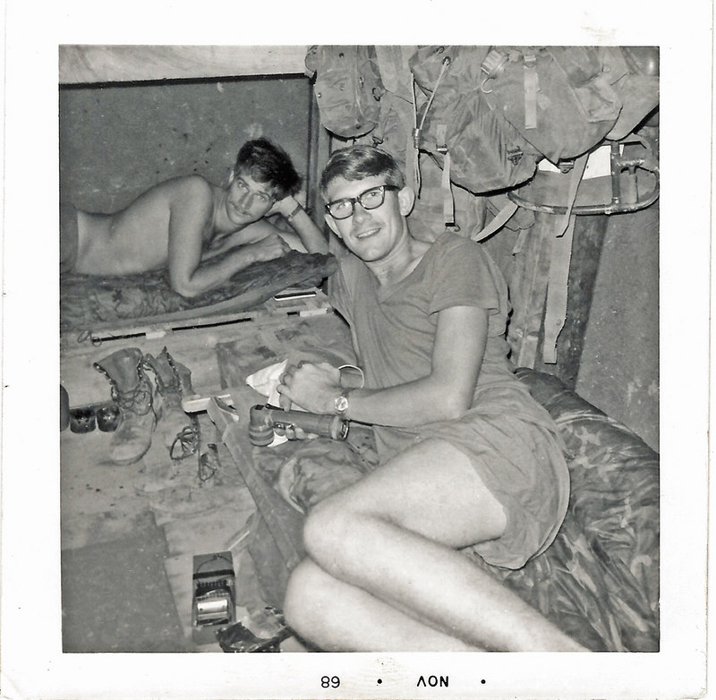 JM98: Larry Brandt (WA) in the rear, and Fred Shinbur (MD), in bunks at basecamp