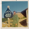 JM01: Jerome Douglas 'Buddy' Meyer (CA) in the basecamp at HQ - this is an eye test.  Yes, the photo is that bad!  ... Note from Doc Norman - Weren't no eye test for me. Any Gunfighter could read that. No harder than finding charlie in the boonies ... doc