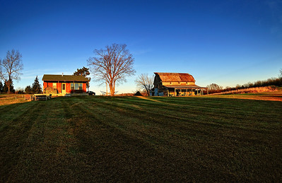 The Dominion Cabin and Barn in the evening