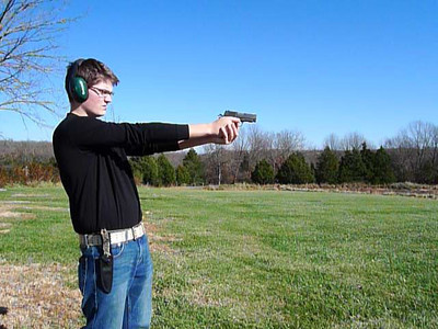 Jeffrey Shooting an RIA .45 auto (officer's size).