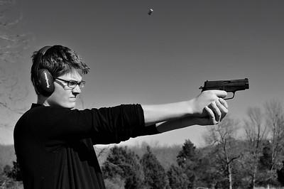 Jeffrey shooting a Sig P228
