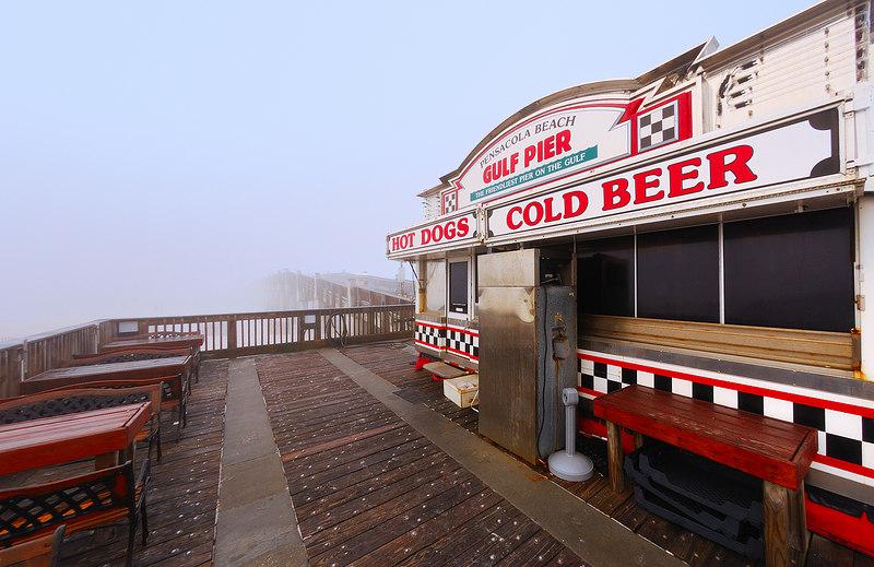 Foggy Pier.  The Pier at Pensacola beach on a foggy morning.