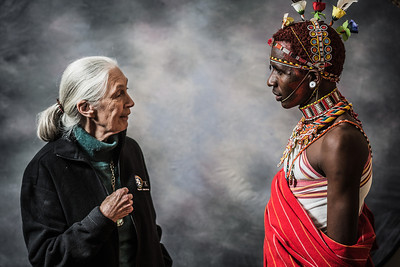 Dr. Jane Goodall and Jeneria Lekilelei