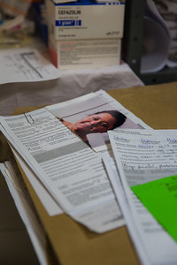 Meticulous records are kept of each patient. Photographed on assignment for Portland Magazine.
