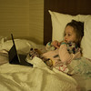 Mia Rose at the Fairfield Inn & Suites by Marriott in  Columbus, OH on our trip to COSI.  December 30, 2017.  (J. Alex Wilson)
