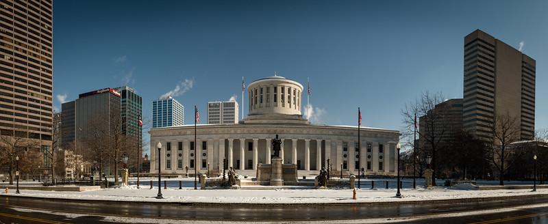 The Ohio Statehouse in Columbus, OH.  December 31, 2017.  (J. Alex Wilson)