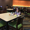 Mia Rose eating breakfast at the Fairfield Inn & Suites by Marriott Columbus OSU during our Christmas trip to COSI in Columbus, OH.  December 31, 2017.  (J. Alex Wilson)