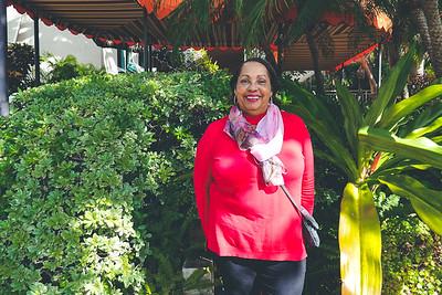 Dahlia in front of Peacock Garden Café - Coconut Grove