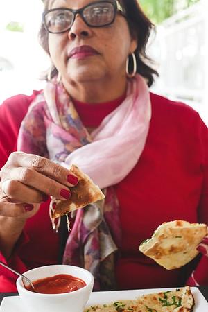 Chicken tikka and garlic naan at Saffron @ grove Restaurant