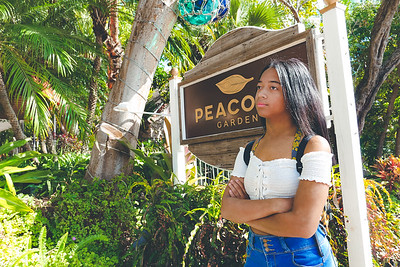 Yazzy in front of Peacock Garden Café - Coconut Grove