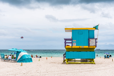 Colourful lifeguard hut