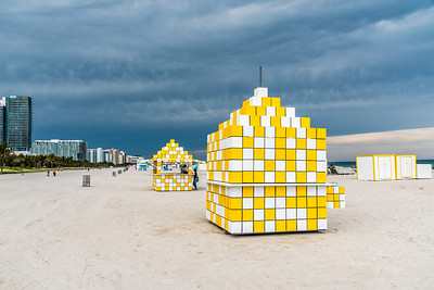 Yellow and white refreshment huts