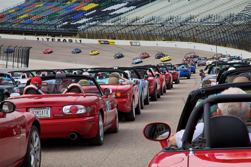 Miatas at Texas Motor Speedway.