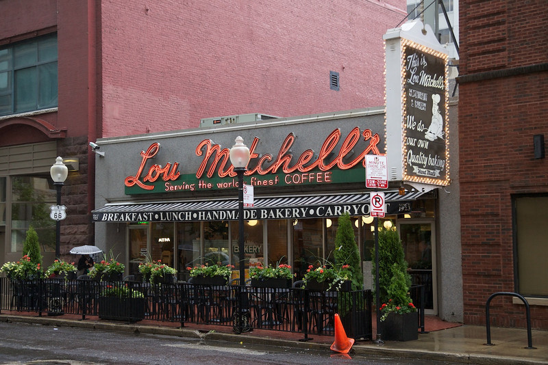 The famous Lou Mitchell's restaurant on Route 66 in downtown Chicago.  My pancakes were excellent and the ladies got free Milk Duds.