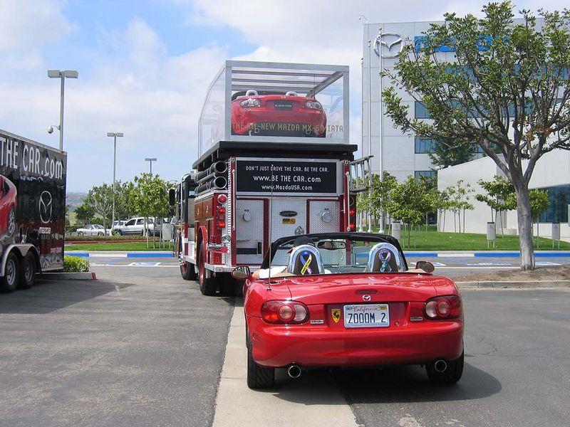 Leaving Mazda HQ parking lot.