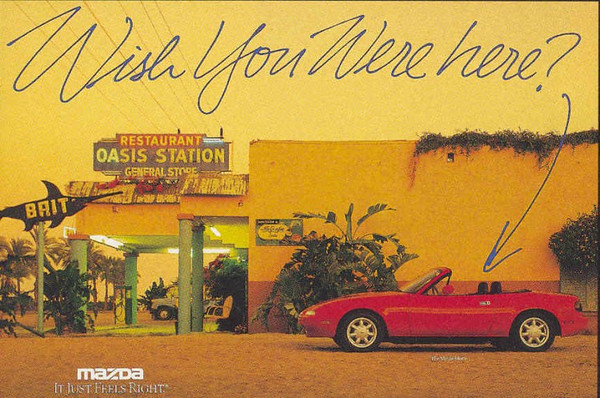 One of the very early Mazda Miata ads.  It was shot in the early '90s at Oasis Station near the Salton Sea.