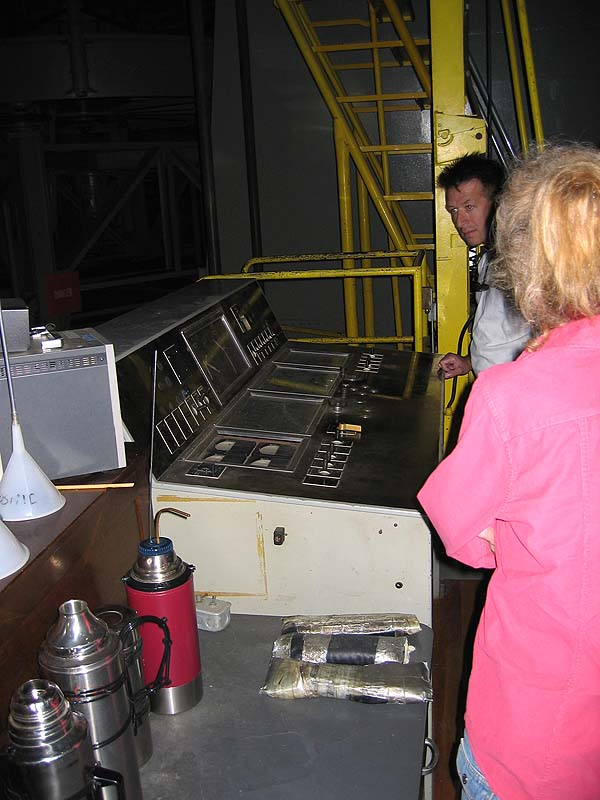 The original control panel that was used to manually move the telescope's position.  Position adjustments are now computer controlled.