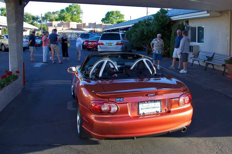 Day 9: Greg and Mandie left the group in Santa Fe when they spotted a 2005 Lava Orange Mazdaspeed on a Mazda dealer's lot.  A few hours later they joined us at the motel with their new Miata.